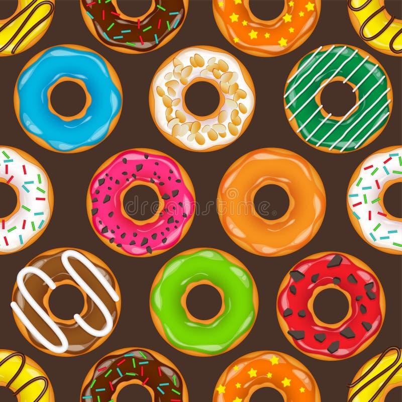 Pączek, begel z śmietanką Ciastka, ciastko torta set słodki deser z cukierem, karmel Smakowity śniadaniowy kucharstwo Cafateria ilustracji