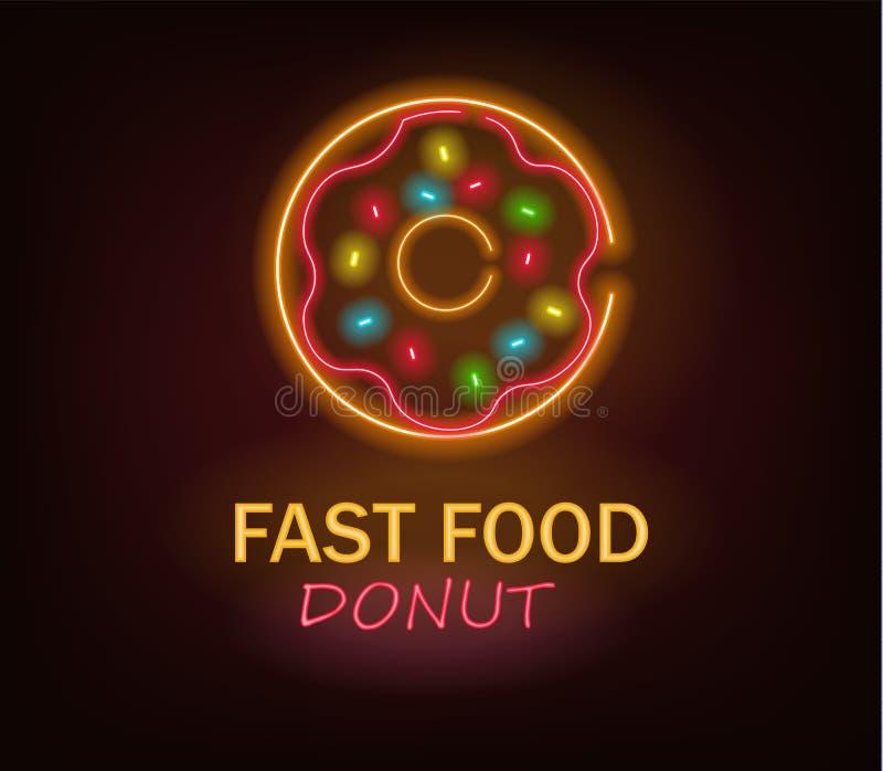 Pączek neonowy, fast food neonowy, wyśmienicie śniadanie ilustracja wektor
