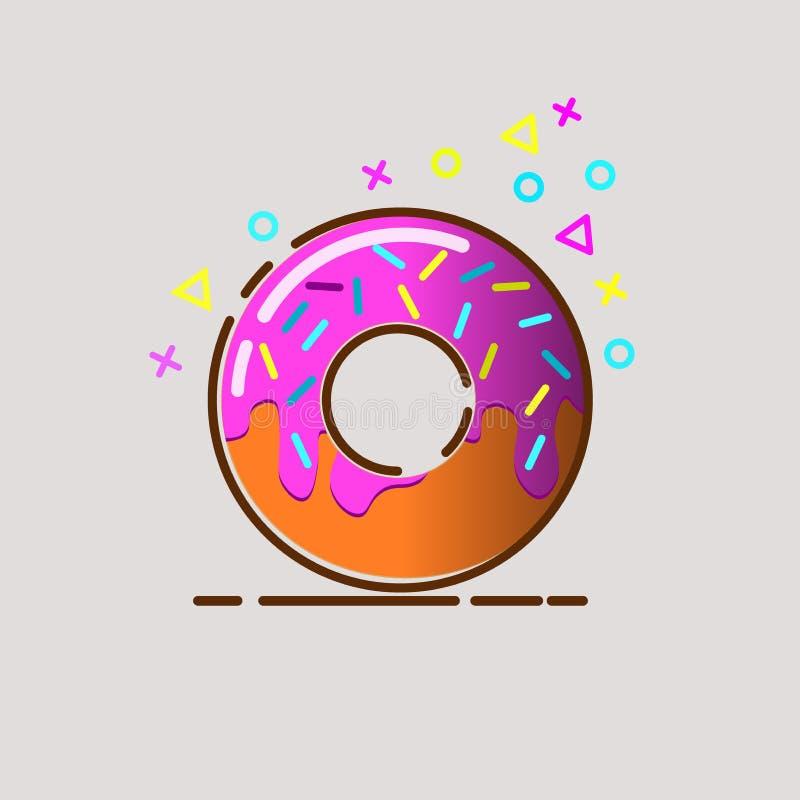 Pączek wyśmienicie z kropi odosobnionego na tle Wektorowa pączek ikona, donuts kawy, donuts logowie, pączka sklep, pączka cukierk ilustracji