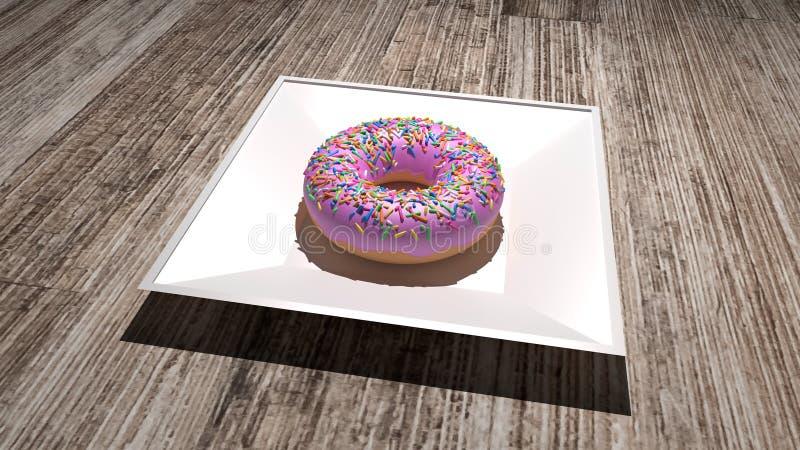 Pączek z bielu talerzem, umieszczającym na drewnianym stole 3D odpłacają się smakowity pączek z różowym creme wierzchołkiem i tęc ilustracji