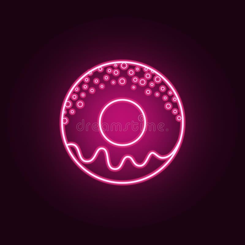 Pączka glazerunku neonowa ikona r Prosta ikona dla stron internetowych, sie? projekt, mobilny app, ewidencyjne grafika ilustracja wektor