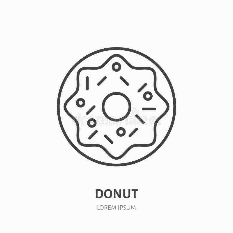 Pączka płaski logo, kreskowa ikona Słodka karmowa wektorowa ilustracja Znak dla piekarni, ciasto sklep ilustracja wektor