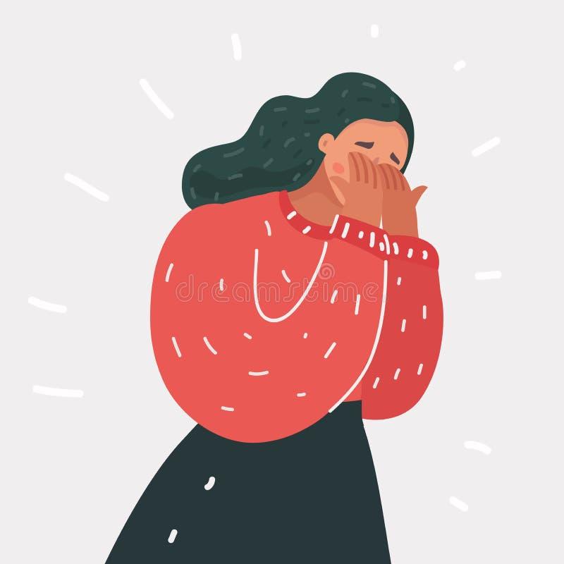 Płaczący kobiet emocj żal royalty ilustracja