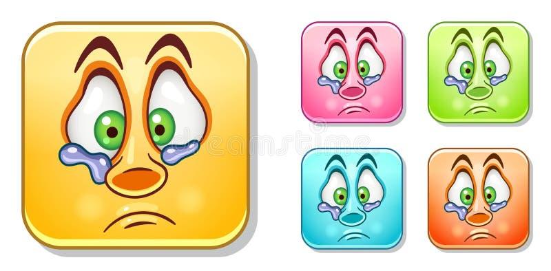 Płaczący osamotnionych Emoticons Inkasowych ilustracji