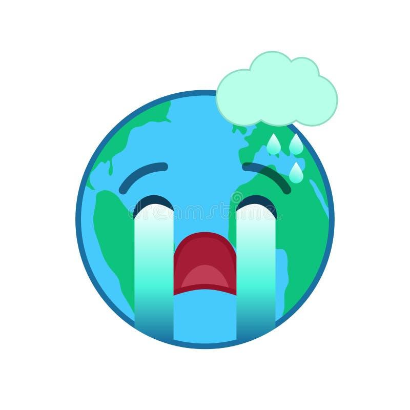 Płacz światowej kuli ziemskiej odosobniony emoticon royalty ilustracja