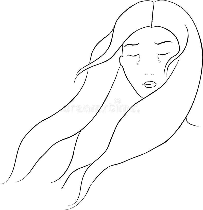 płacz artystyczna dziewczyna ilustracji