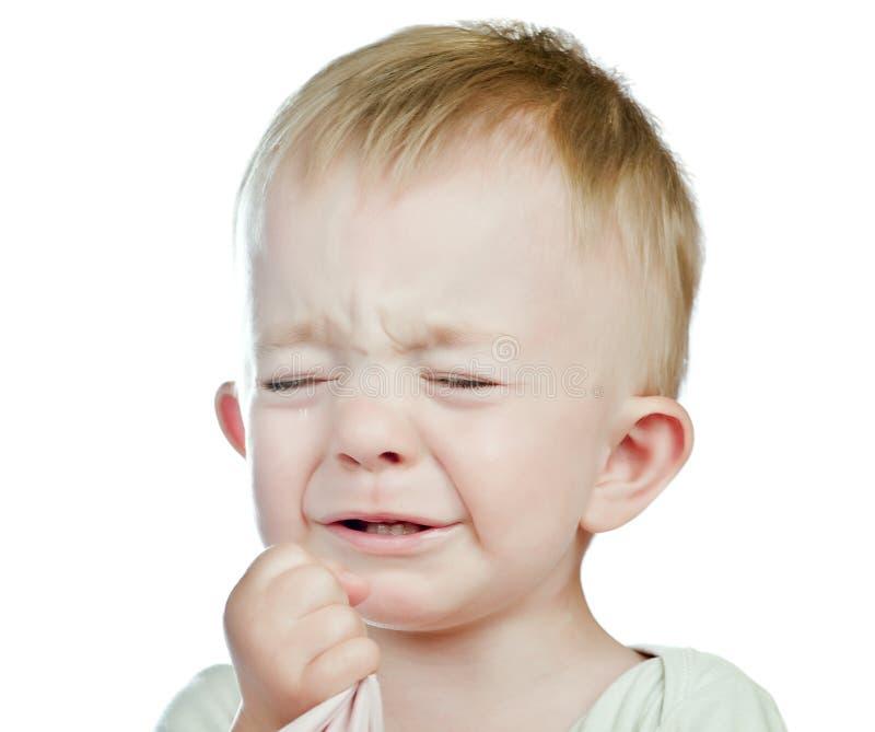 Płacz chłopiec odizolowywająca fotografia royalty free