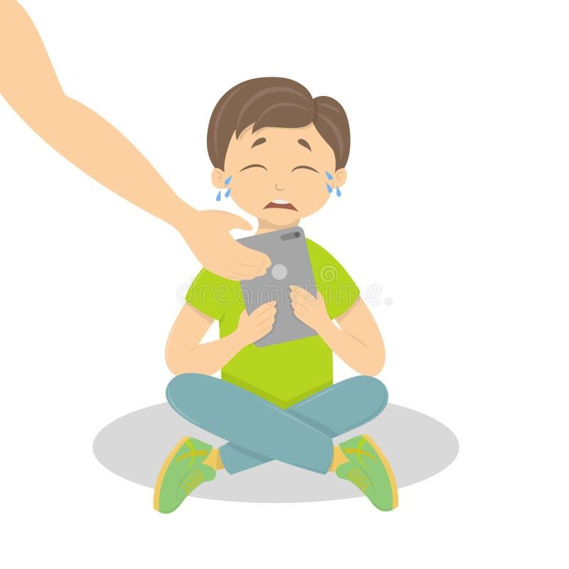 Płacz chłopiec z pastylką ilustracji
