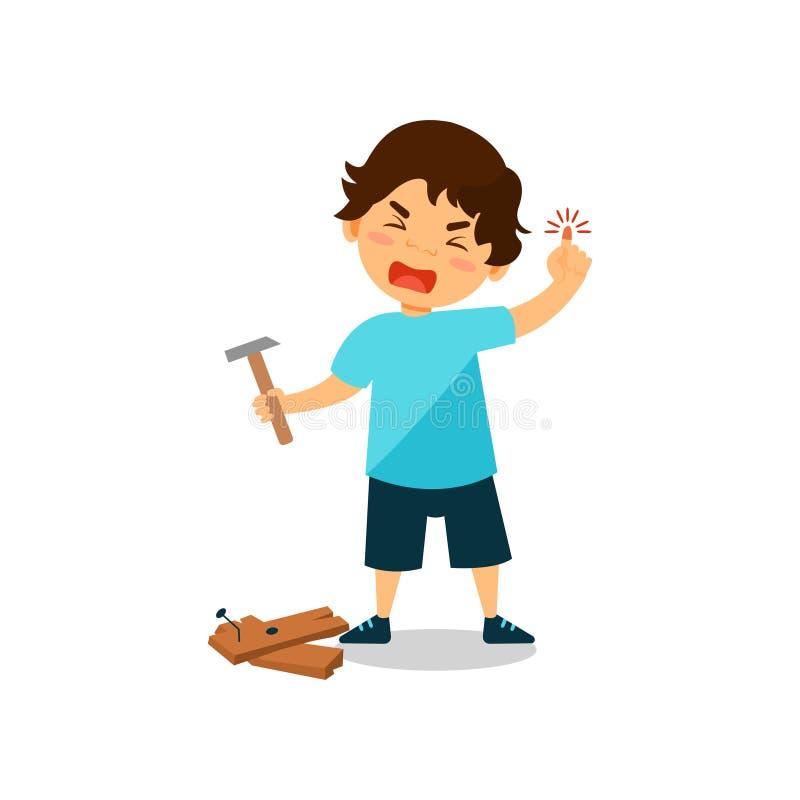 Płacz chłopiec z zdradzonym kciukiem, dzieciak siniaczył palec podczas gdy młotkujący gwóźdź wektorową ilustrację na białym tle royalty ilustracja