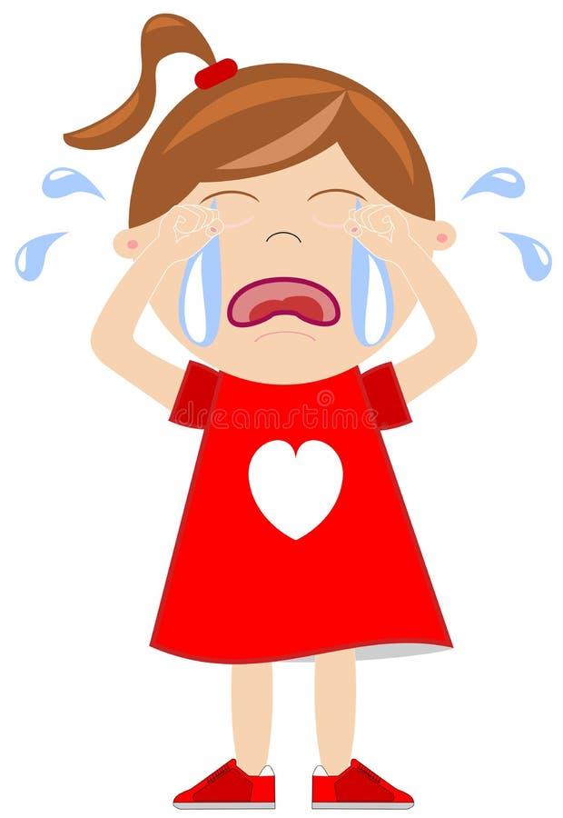 Płacz dziewczyna ilustracja wektor