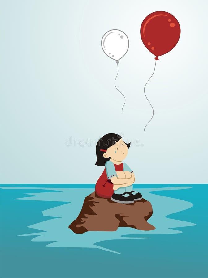 płacz dziewczyna Japan ilustracja wektor