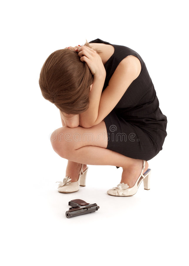 płacz dziewczyny broń zdjęcie stock