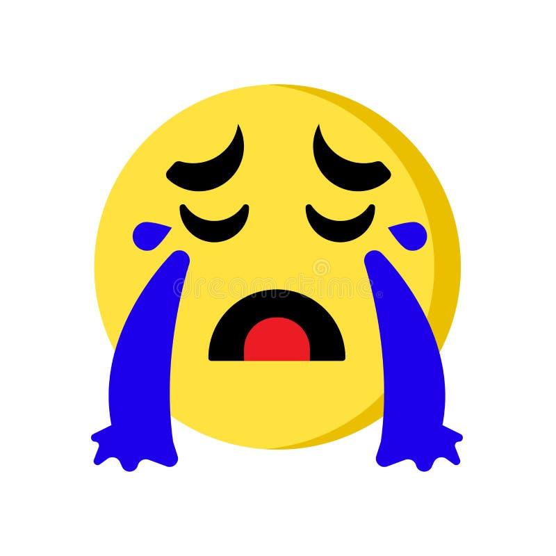 Płacz ikona odizolowywająca na białym tle ilustracja wektor