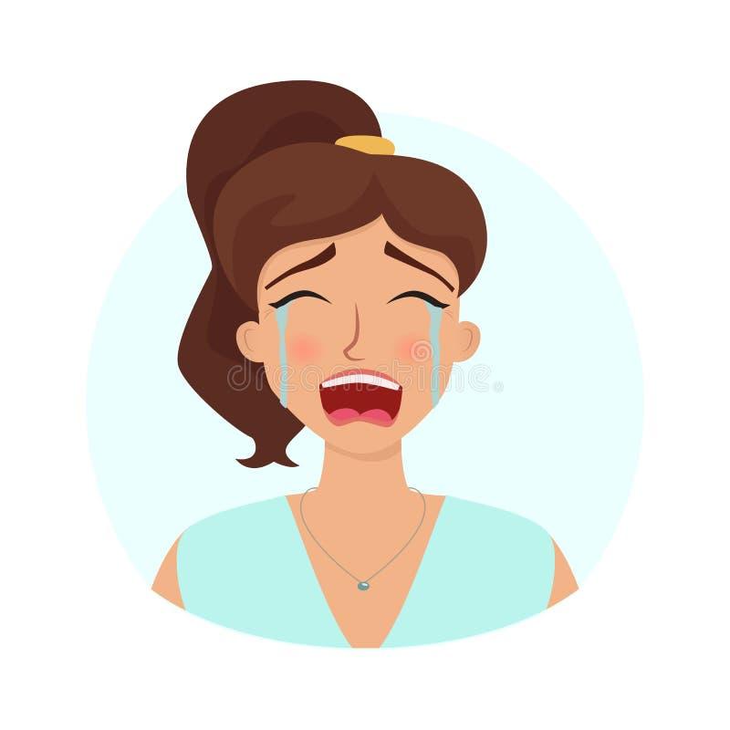 Płacz kobieta w stroskaniu ilustracja wektor