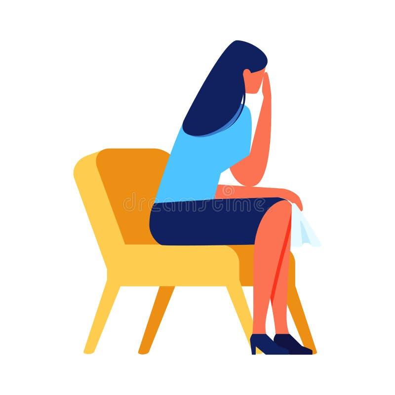 Płacz kobiety obsiadanie na krześle na Białym tle ilustracji