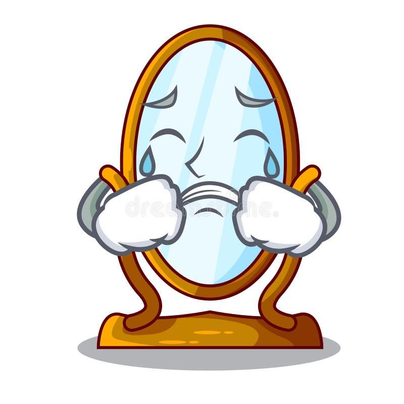 Płacz kreskówki antyka duży lustro w ramie royalty ilustracja
