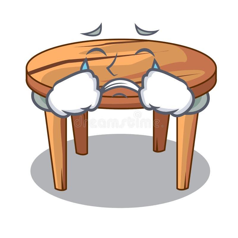 Płacz kreskówki drewniany łomota stół w kuchni royalty ilustracja