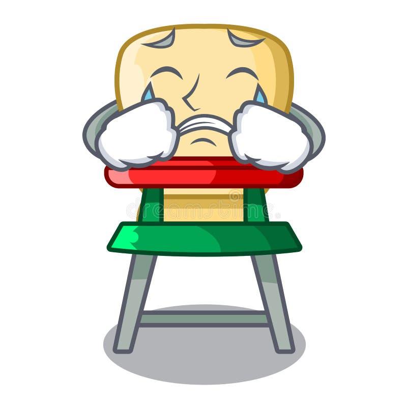 Płacz kreskówki dziecka obsiadanie w highchair ilustracji