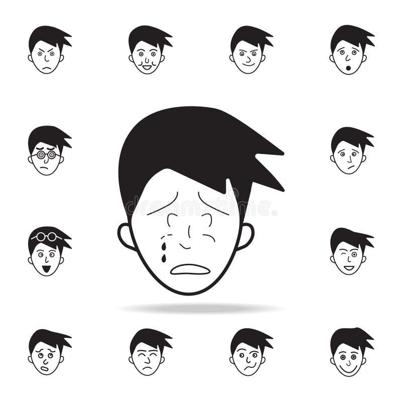 płacz na twarzy ikonie Szczegółowy set twarzowe emocji ikony Premia graficzny projekt Jeden inkasowe ikony dla stron internetowyc ilustracja wektor