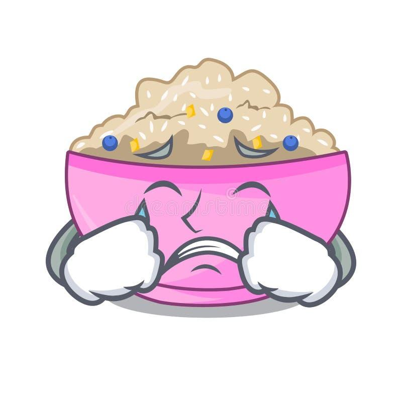 Płacz owsianki śniadanie w kreskówce łomota stół ilustracja wektor
