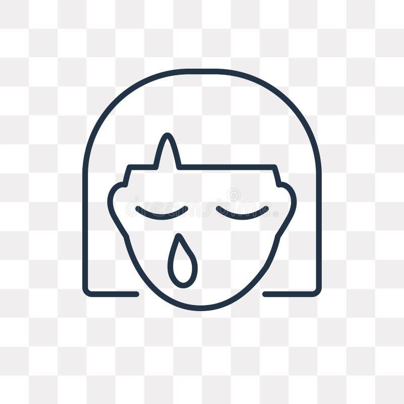 Płacz wektorowa ikona odizolowywająca na przejrzystym tle, liniowy Cr royalty ilustracja