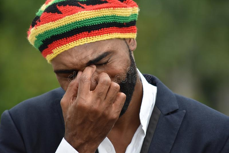 Płaczu Dorosły Czarny Jamajski mężczyzna obrazy royalty free