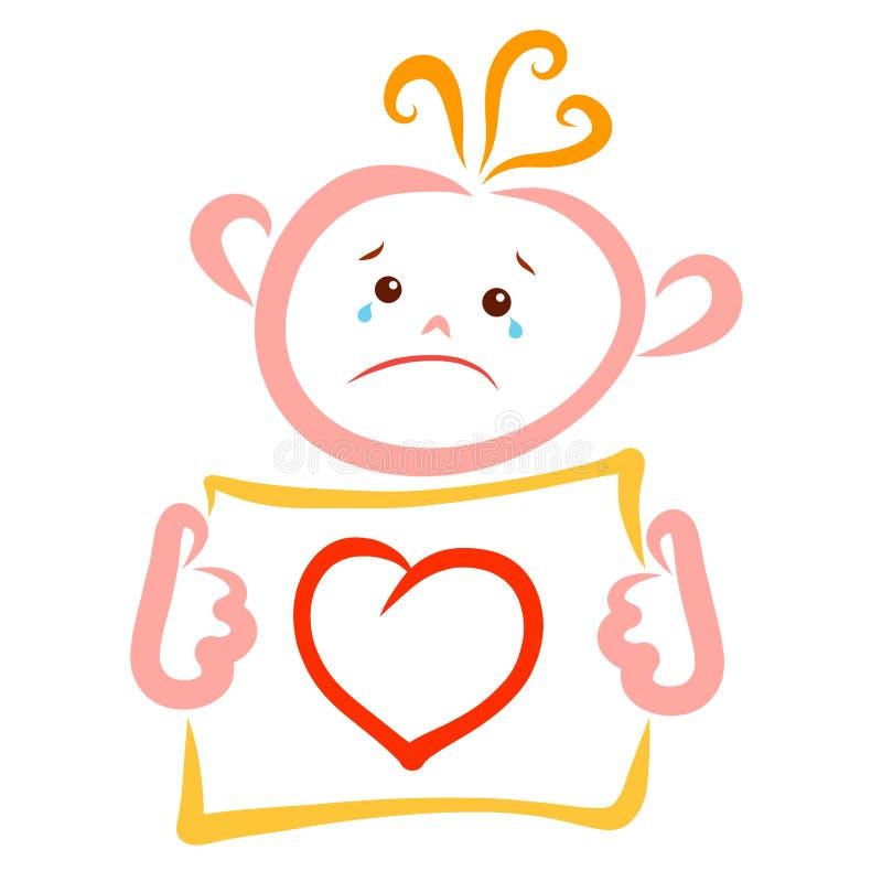 Płaczu dziecko trzyma prześcieradło papier z obrazkiem serce royalty ilustracja