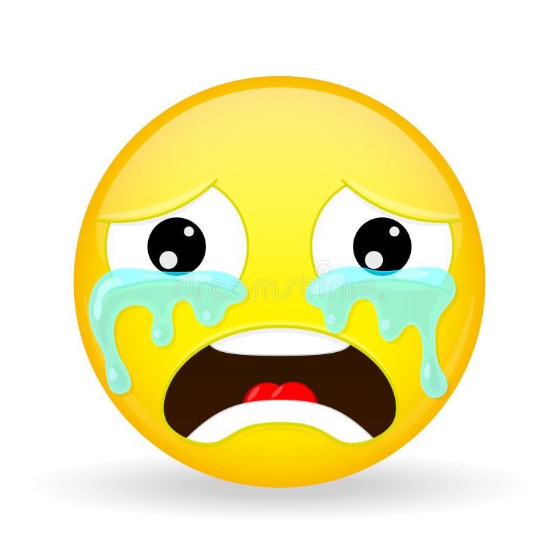 Płaczu emoji Emocja żal Płaczący emoticon Kreskówka styl Wektorowa ilustracyjna uśmiech ikona royalty ilustracja
