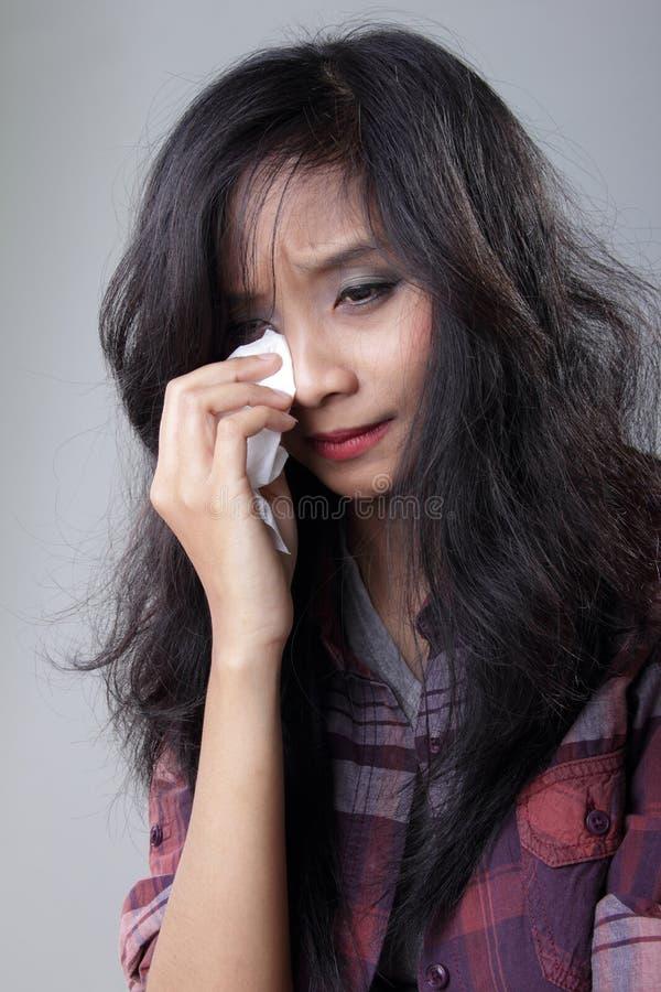 Płaczu kobiety portret obrazy royalty free