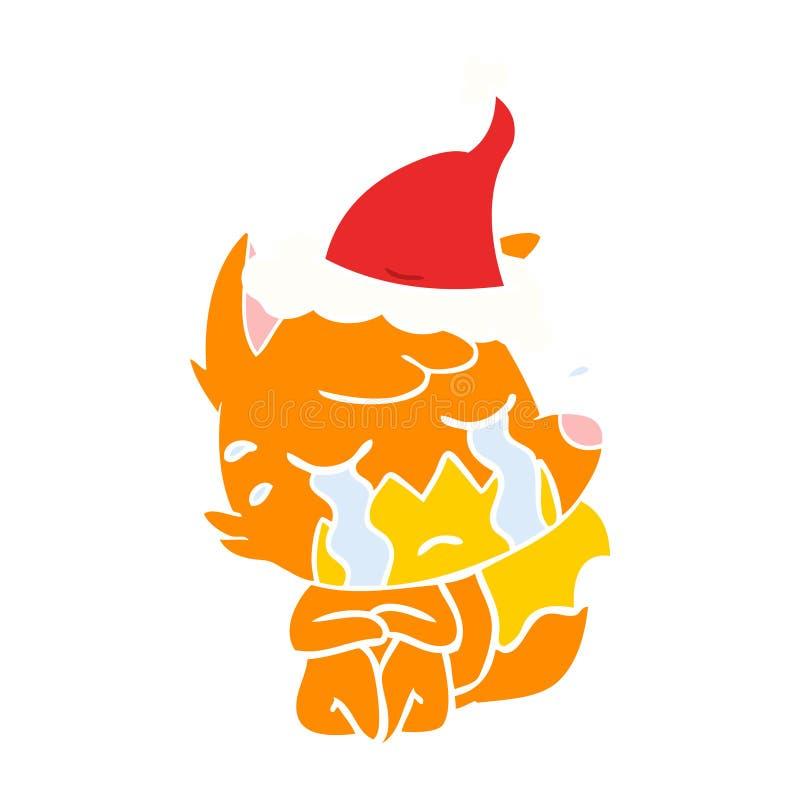 p?aczu lisa koloru p?aska ilustracja jest ubranym Santa kapelusz ilustracja wektor