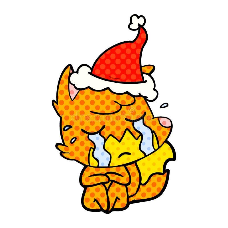 p?aczu lisa komiksu stylu ilustracja jest ubranym Santa kapelusz ilustracja wektor