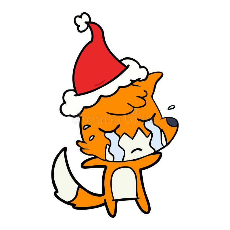 p?aczu lisa kreskowy rysunek jest ubranym Santa kapelusz ilustracji
