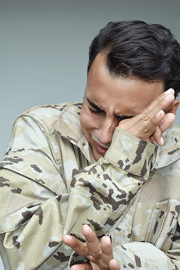 Płaczu Militarny Męski żołnierz obrazy royalty free