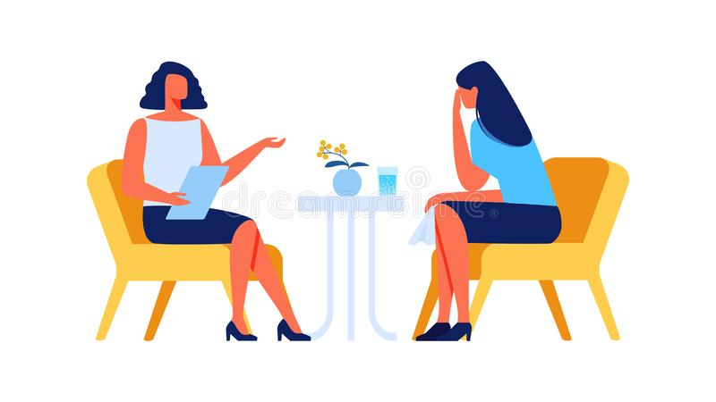 Płaczu psycholog na Białym tle i kobieta ilustracji