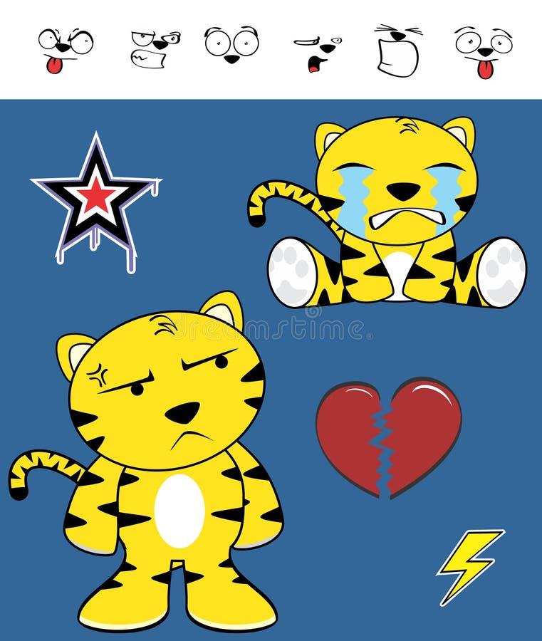 Płakać Ślicznego tygrysiego śmiesznego wyrażenie kreskówki set royalty ilustracja