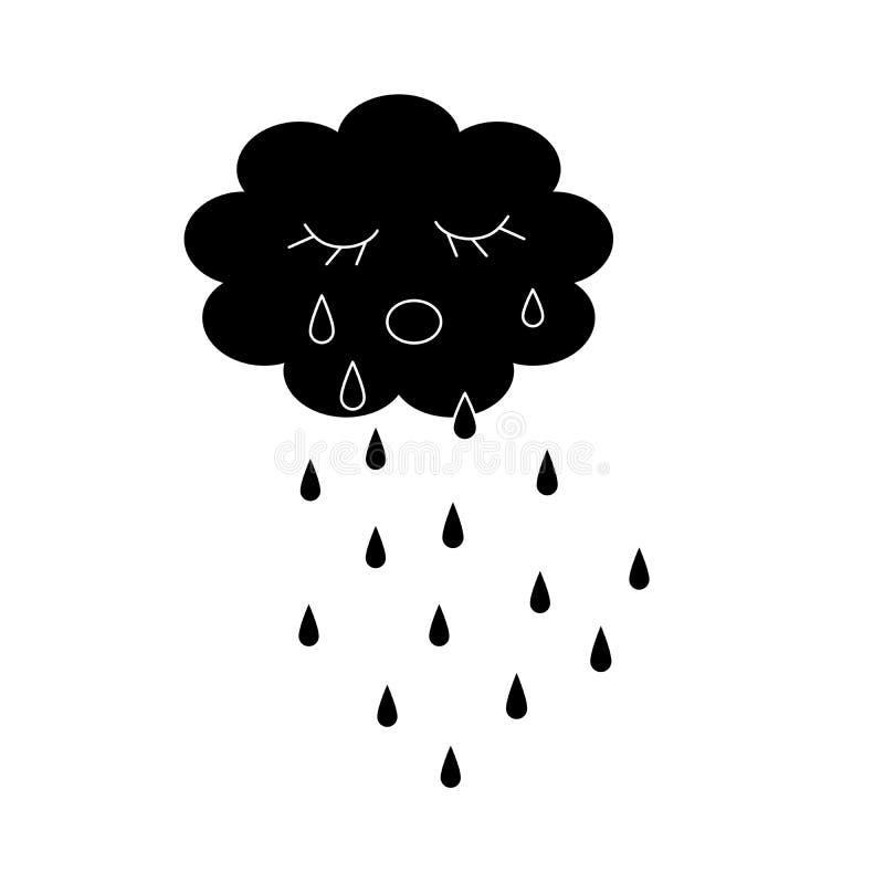 Płakać obłoczną czarną sylwetki kreskówkę royalty ilustracja