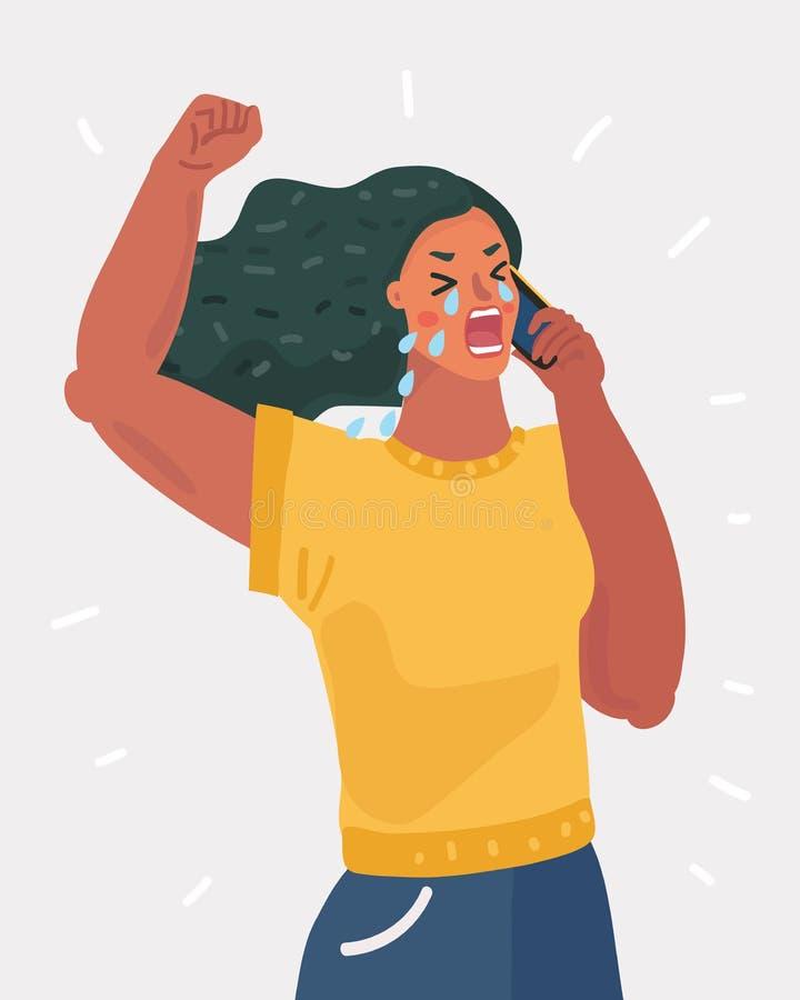 Płakać Osamotnioną kobiety rozmowę telefonicza ilustracja wektor