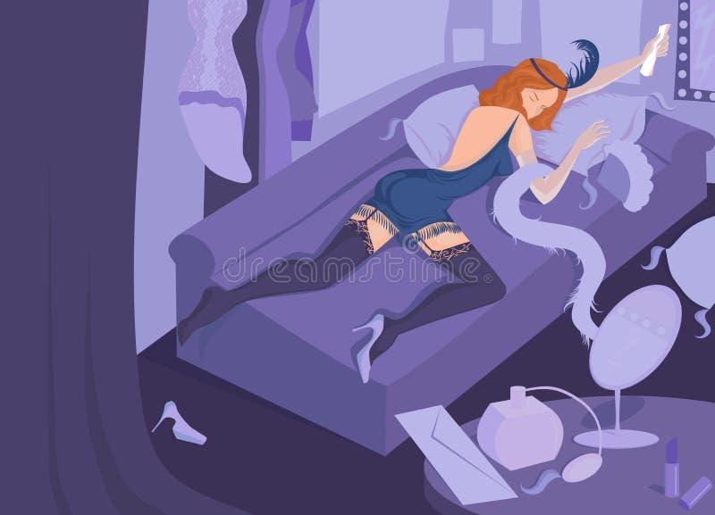 Płakać retro dziewczyny ilustracja wektor
