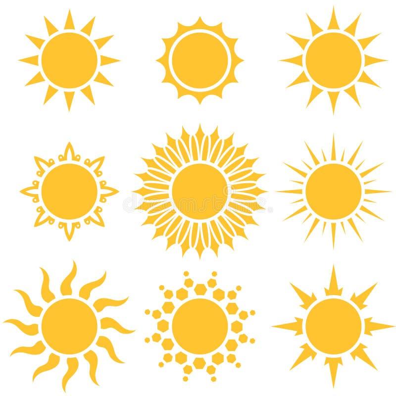 Płascy żółci słońce kreskówki kształty ilustracji