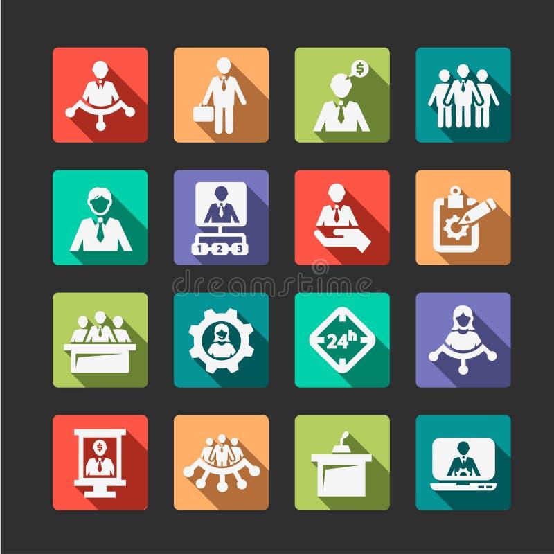 Płascy działy zasobów ludzkich i zarządzanie ikony ilustracja wektor