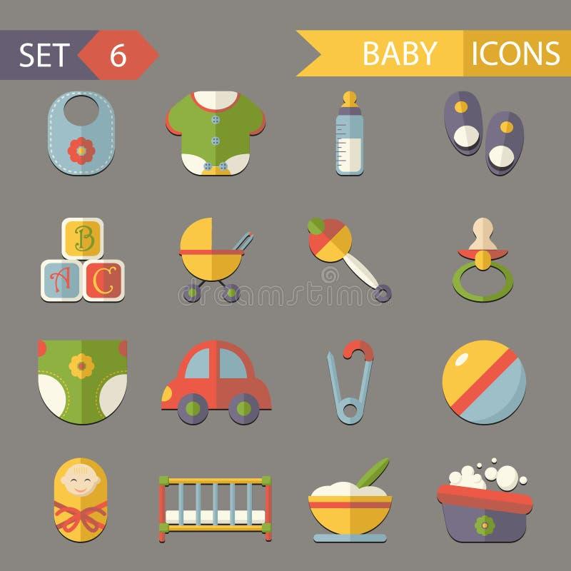 Płascy dziecka i dzieciństwa ikon symbole ustawiają wektor ilustracji