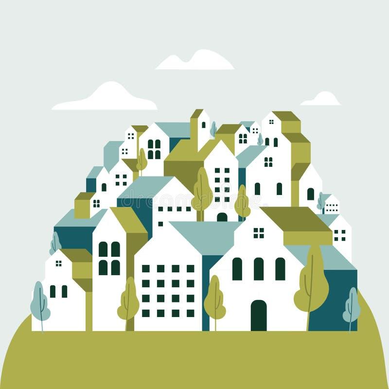 Płascy geometryczni budynki, Minimalny zielony miasto krajobrazu mieszkania styl ilustracja wektor