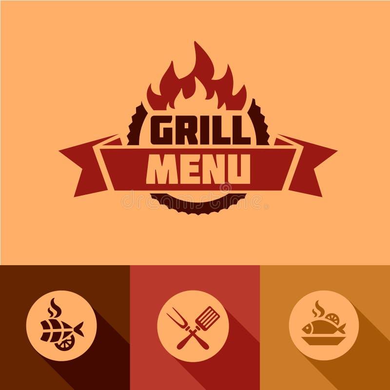 Płascy grilla menu projekta elementy ilustracja wektor