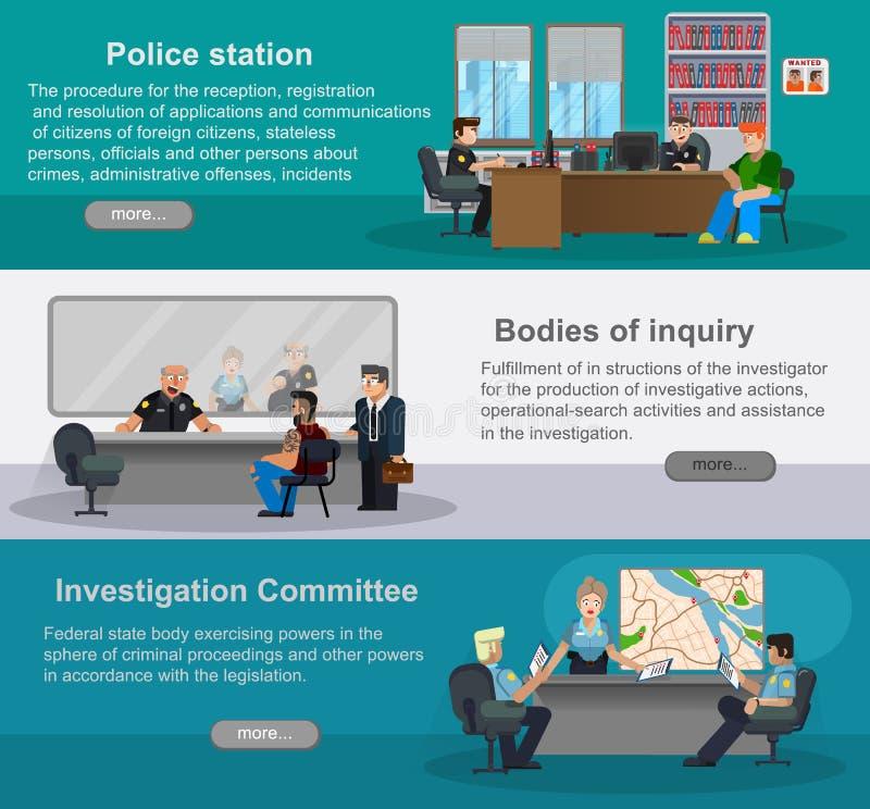 Płascy horyzontalni sztandary z scenami przedstawiciele funkcjonariuszi policji Dział wywiadywania, dochodzenie komitet, depar ilustracja wektor