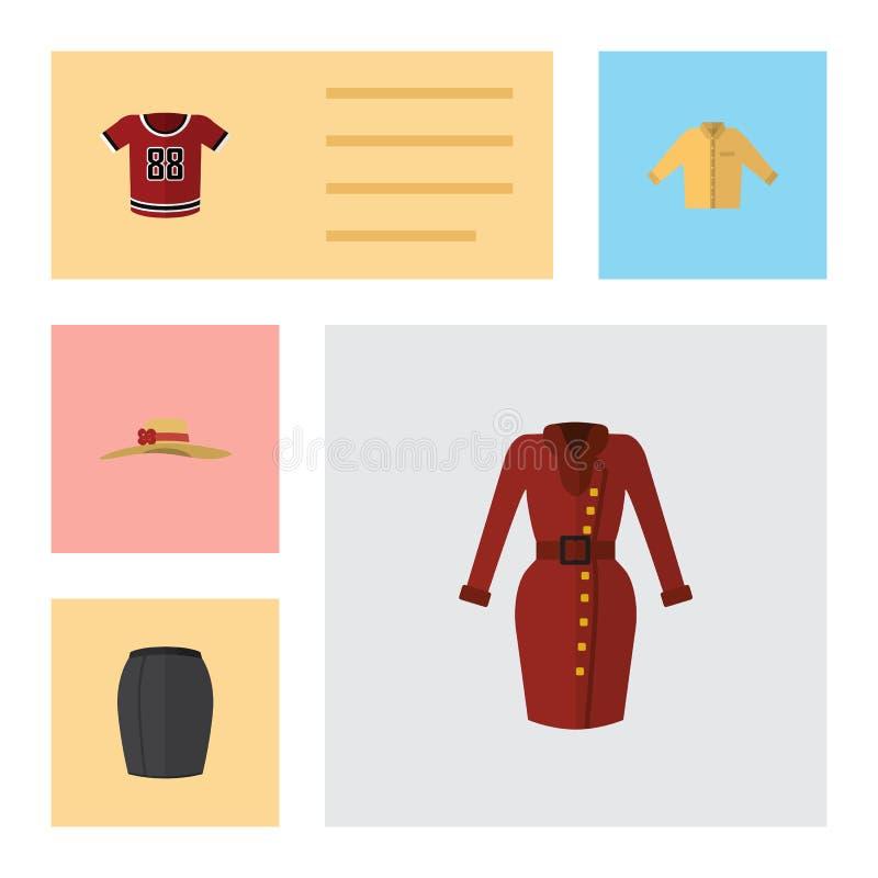 Płascy ikon ubrania Ustawiający Odziewają, Elegancka odzież, Banyan I Inni Wektorowi przedmioty, Także Zawiera suknię, spódnica,  ilustracji