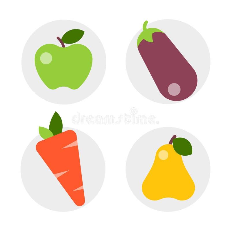 Płascy ikon warzywa zdrowej styl życia diety nowożytnego projekta odżywiania i stylu owoc karmowi węglowodany balansujący royalty ilustracja