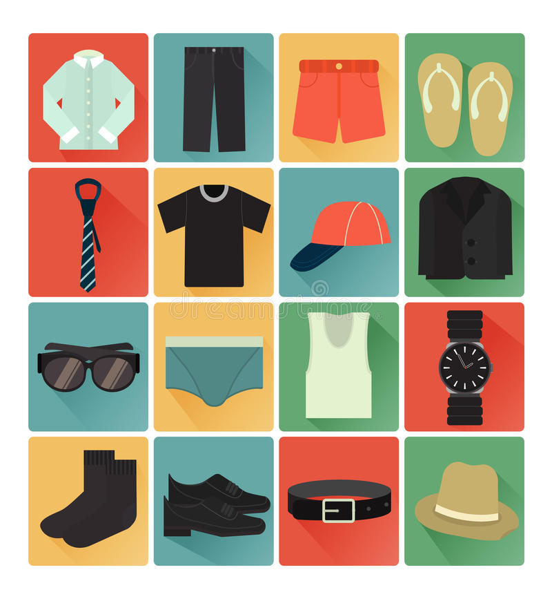 Płascy ikony gent ubrania ustawiający royalty ilustracja