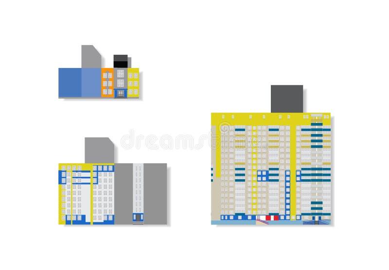 Płascy ilustracyjni wysocy wzrostów domy dla 3d modelują ilustracja wektor