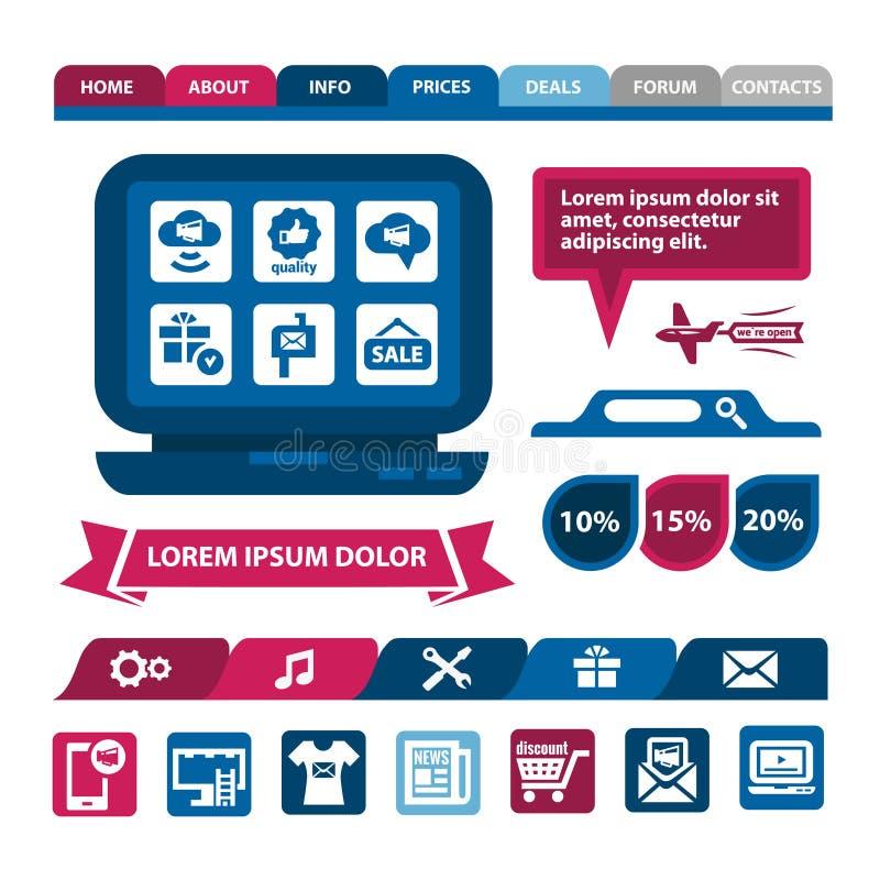 Płascy infographics i sieci elementy ilustracji