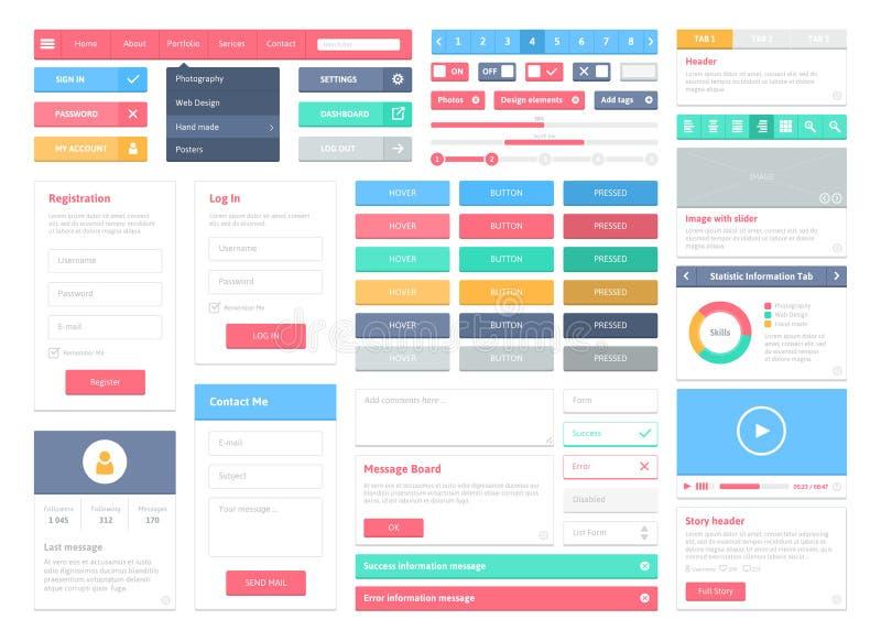 Płascy interfejsów użytkownika elementy ustawiający ilustracja wektor